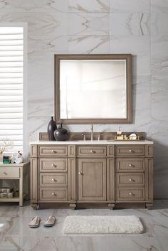 "Bristol 60"" Single Vanity, White Washed Walnut"