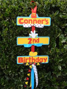 Mickey Mouse Party ~ Decorations ~ door sign (Party sign is made from card stock - Each of the tier measures 7 1/2 inches wide and is approximately 24 inches long)