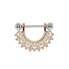 "Rose gold plated nipple ring Material : 316L Stainless Steel, Gold Plated Alloy Steel"" Barbell Thickness : 14GA 