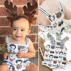 Felicy Newborn Infant Baby Girls Boys Long Sleeve Cartoon Snowflake Zipper Romper Xmas Jumpsuit Pajamas Sleepwear Outfits