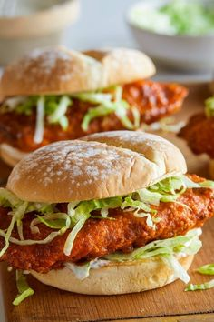 A recipe for Baked Honey Hot Chicken Sandwiches. - Delicious hot chicken that we all love turned into sandwiches that are baked! Easier to make a healthier than fried chicken. Chicken Sandwich Recipes, Best Chicken Recipes, Beef Recipes, Easy Recipes, Spicy Chicken Sandwiches, Recipe Chicken, Healthy Recipes, Noodle Recipes, Sausage Recipes