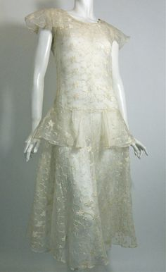 Embroidered Soft White Organdy Wedding Dress circa 1930s - Dorothea's Closet Vintage