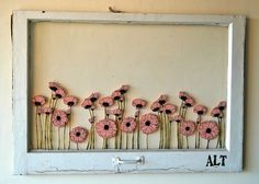 Pink Poppies Painted Antique Window by ashleylthurman on Etsy Painted Window Panes, Window Art, Window Ideas, Antique Windows, Old Windows, Decorative Windows, Bright Painted Furniture, Old Window Projects, Pink Poppies