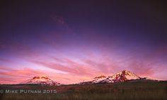 """Morning Glory"", Oregon's Three Sisters Mountains at Sunrise.  As Central Oregon's focal point, the Three Sisters can be seen from much of the region, with particularly good views from the cities of Sisters, Oregon and Bend, Oregon.  To see more fine art photographs of Central Oregon, please visit my website, www.mikeputnamphoto.com #bend,#oregon,#three sisters,#centraloregon,#cascademountains"