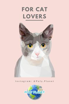 Visit our site to download the low-poly drawing app! Low Poly, Cat Lovers, Drawings, Cats, Movie Posters, Instagram, Gatos, Kitty Cats, Cat
