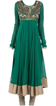 Emerald aztec anarkali