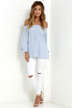 Shift from season to season in style with the Breeze Into It Light Blue Chambray Off-the-Shoulder Top! Light blue chambray shapes an elasticized off-the-shoulder neckline, wide-cut bodice (with hidden button placket), and cuffed, three-quarter sleeves.