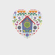 Modern Cross Stitch Pattern - Swedish Folk Art Heart