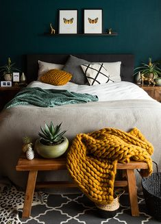 decor and organization bedroom decor decor ideas yellow bedroom decor decor without headboard decor dunelm decor bedroom decor Bedroom Green, Jewel Tone Bedroom, Dark Cozy Bedroom, Teal Bedroom Walls, Emerald Bedroom, Jewel Tone Decor, Charcoal Bedroom, Yellow Gray Bedroom, Yellow Bedrooms