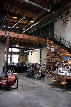 A new community-focussed bike shop and cafe has opened in Los Angeles' Art District – called The Wheelhouse. The premise of The Wheelhouse, was to combine the heritage of cycling, along with the ever- Industrial Interior Design, Industrial Living, Industrial Interiors, Industrial Style, Urban Industrial, Industrial Apartment, Industrial Shop, Industrial Shelving, Industrial Farmhouse