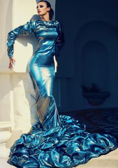 Blue Latex Gown. WOW!!!