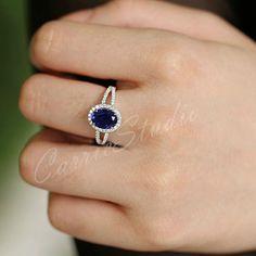 Ovalen Saphir-Ring Verlobungsring / Weißgold Ehering 925