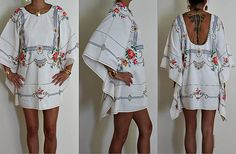 30% OFF Labor Day Sale Vintage Upcycled Cream Cotton Embroidered Backless Caftan Boho Glam Festival Mini Dress S/M/L