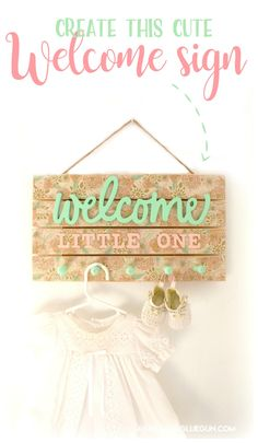 Learn how to create a super cute wood welcome sign using supplies found at Hobby Lobby Perfect for craft night! Swap out tissue paper and words and knobs for one of kind creations! Crafts For Kids To Make, Easy Diy Crafts, Cute Crafts, Diy Craft Projects, Craft Ideas, Diy Ideas, Welcome Baby Signs, Dyi, Girl Sign