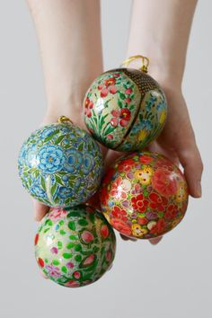 Four hand-painted baubles: Bright Floral Painted Christmas Ornaments, Christmas Tree Baubles, Christmas Crafts, Christmas Presents, Christmas Ideas, Xmas Decorations, Ancient Art, Beautiful Hands, Kashmir India