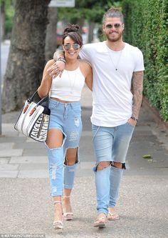 0c9cd136ae5 Stephanie Davis and boyfriend Sam Reece wearing matching ripped denim jeans