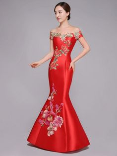 Embroidered Off Shoulder Fishtail Qipao / Cheongsam Wedding Dress