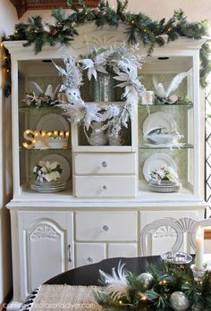 Wintry Elegant Christmas Hutch from Confessions of a Serial Do-it-Yourselfer and At Home #ad #AtHomeforChristmas #AtHomeFinds