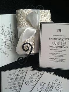 Glamorous wedding invitation. Vintage inspired with hand written calligraphy accents. www.jenniferborkowskidesigns.com
