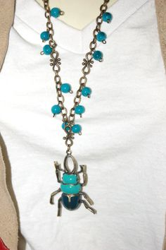 Egyptian Scarab Beetle Pendant Necklace Silver by Artifactsduex, $14.50
