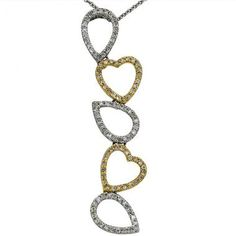 Heart and pear shape pave diamond pendant in 14Kt two tone gold