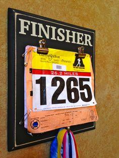 Race bib Holder AND Medal display holder - Marathon, Half Marathon Gifts - FINISHER www.frameyourevent.com