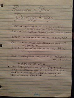 Harry Potter and the philosophers stone Drinking Game!