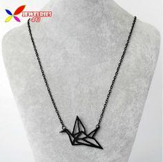 Diseñador de moda Hueco de la Aleación de oro de Plata Negro Origami Collar Falso Corto colliers de Colgante y Collar para Las Mujeres al por mayor
