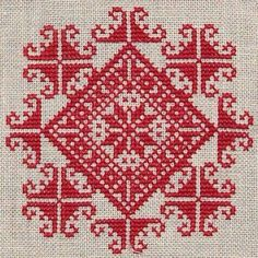 Christmas cross stitch - centre diamond & add some beading? Diy Embroidery, Cross Stitch Embroidery, Embroidery Patterns, Biscornu Cross Stitch, Cross Stitch Heart, Funny Cross Stitch Patterns, Cross Stitch Designs, Broderie Bargello, Palestinian Embroidery