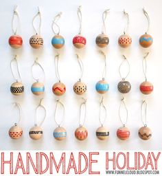 handmade holiday | painted wood ball ornaments