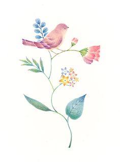 """Little Purple Bird and Flowers"" −RiLi, picture book, illustration, design ___ ""紫色の小鳥と草花"" −リリ, 絵本, イラスト, デザイン ...... #illustration #bird #purple #flower #イラスト #鳥 #紫 #花"