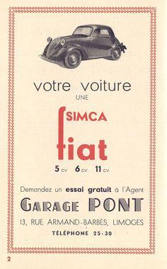 votre voiture : une SIMCA FIAT, programme Société des Concerts de Limoges, 1934 - Bfm Limoges.