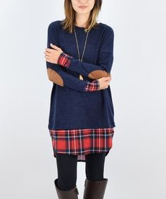 Loving this Navy & Red Plaid-Trim Elbow-Patch Tunic on #zulily! #zulilyfinds