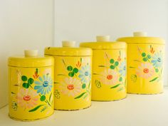 Ransburg Kitchen Canisters Handpainted Yellow by whiterobinvintage, $48.00