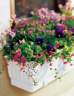 self-watering window box.....I have this outside my kitchen window......I love how low maintenance it is :)
