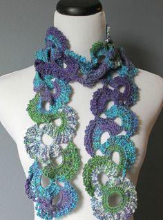 Womens Crochet Scarf Queen Annes Lace Crochet Scarf