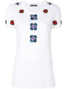 DOLCE & GABBANA Flower Embroidered T-Shirt. #dolcegabbana #cloth #t-shirt
