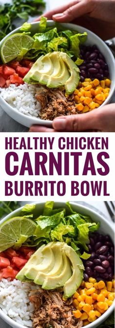 Quick and Easy Healthy Dinner Recipes - Healthy Chicken Carnitas Burrito Bowl- Awesome Recipes For Weight Loss - Great Receipes For One, For Two or For Family Gatherings - Quick Recipes for When You're On A Budget - Chicken and Zucchini Dishes Under 500 Calories - Quick Low Carb Dinners With Beef or Shrimp or Even Vegetarian - Amazing Dishes For Picky Eaters - https://thegoddess.com/easy-healthy-dinner-receipes