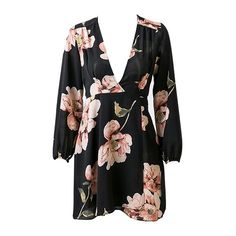 Better Late Than Never Black Pink Green Floral Long Sleeve V Neck Mini... (€41) ❤ liked on Polyvore featuring dresses, floral mini dress, pink mini dress, short green dress, floral dresses and long sleeve dress