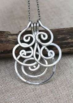 Spiral Cluster Necklace, Wire Spiral,  Aluminum Wire Jewelry, Wire Jewelry