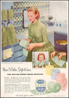 Colored TP~Gentle as facial tissue. 1956  Just the thing for smart young homemakers