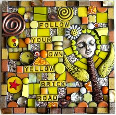 FOLLOW YOUR OWN YELLOW BRICK ROAD.   handmade mixed media mosaic stained glass polymer clay contemporary art folk art outsider art