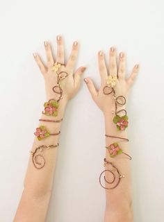 Woodland fairy arm cuffs  Bridesmaid gift  by Frecklesfairychest, $55.00