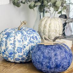 Create beautiful and unique DIY fabric covered pumpkins to match your decor using faux pumpkins, fabric strips and Mod Podge!
