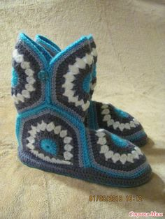 тапочки крючком из мотивов носки чоботы панчохи тапочки крючком
