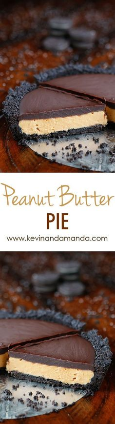 This No-Bake Peanut Butter Pie with an oreo crust whipped peanut butter filling and silky chocolate ganache will have you savoring every decadent bite!