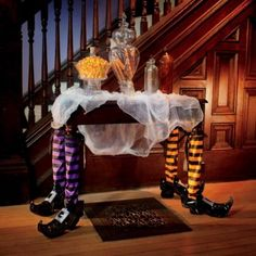 Pair of Halloween Witch Table Legs - cute halloween table decorations.