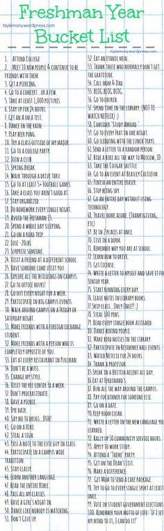 Freshman Year Bucket List- gotta make one of my own: Maybe College Bucket List College Checklist, College Essentials, College Hacks, Dorm Room Checklist, School Hacks, College Necessities, College Packing Lists, School Tips, College Years