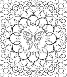 Free Coloring Calendar Butterfly Mandala Page by Thaneeya