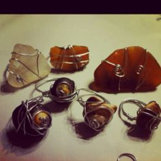 Wire wrapped rings using shells and sea glass